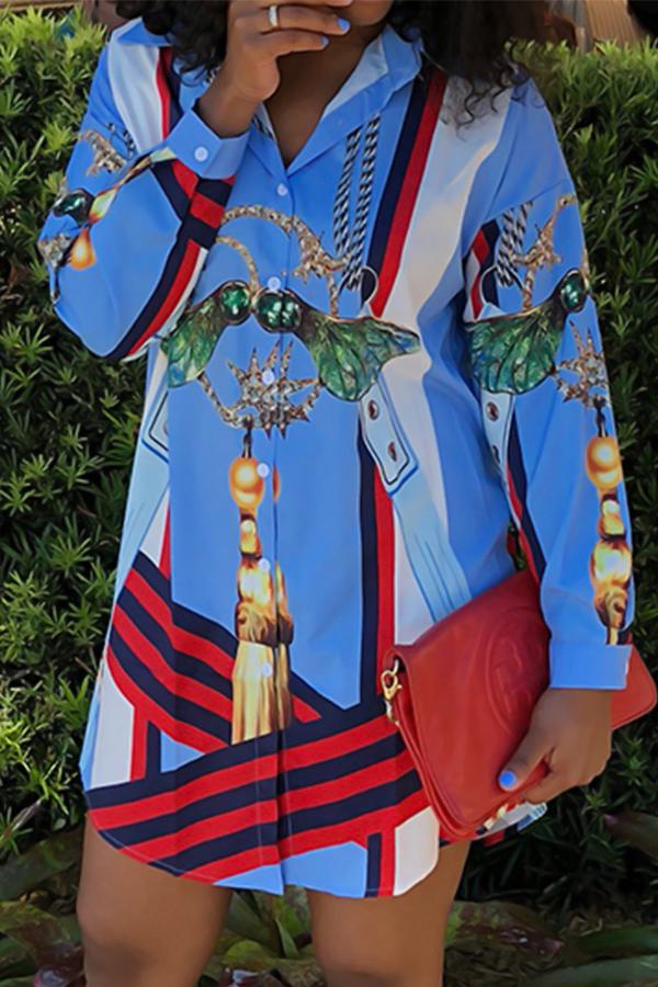 Euramerican Turndown Collar Printed Blue Polyester Mini Shirt Dress Dresses <br><br>