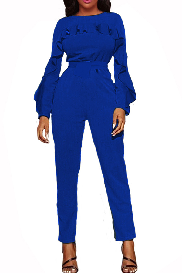Stylish Round Neck Ruffle Design Blue Polyester One-piece Jumpsuits<br>