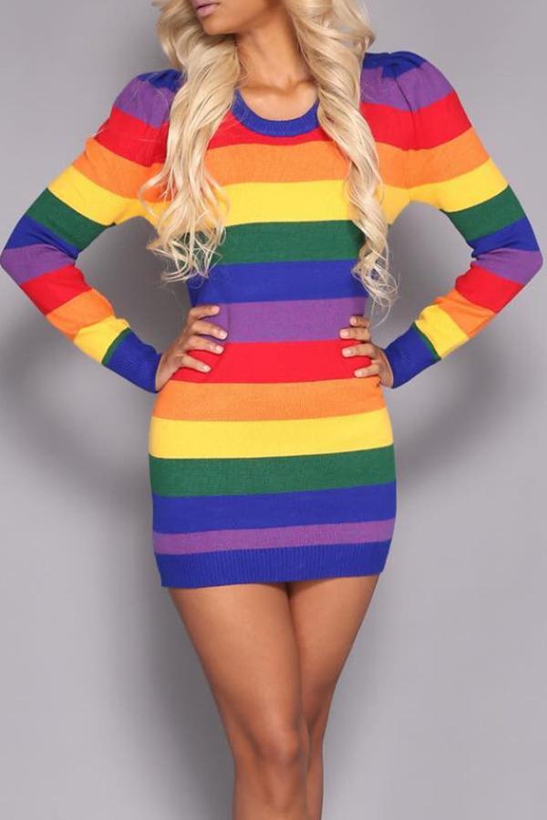 Sexy Round Neck Rainbow Printed Polyester Sheath Mini Dress Dresses <br><br>