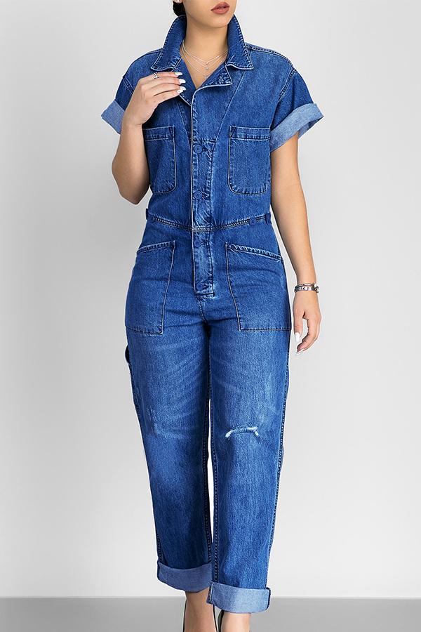 Casual Turndown Collar Short Sleeves Blue Denim One-piece Jumpsuits<br>