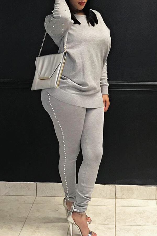 Casual Round Neck Pearl Decoration Grey Blending Two-Piece Pants Set<br>