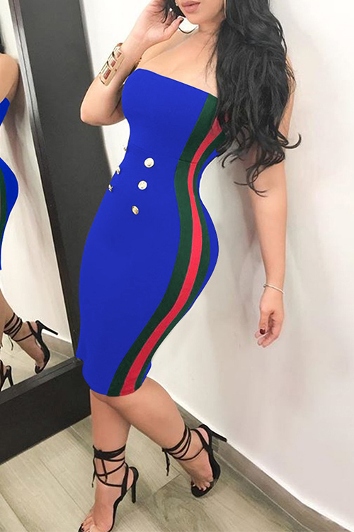 Sexy Bateau Neck Button Decorative Striped Blue Polyester Knee Length Dress Dresses <br><br>