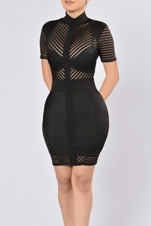 Lovely Sexy Mandarin Collar See-Through Black Polyester Sheath Mini Dress(Without Subcoating) Dresses <br><br>
