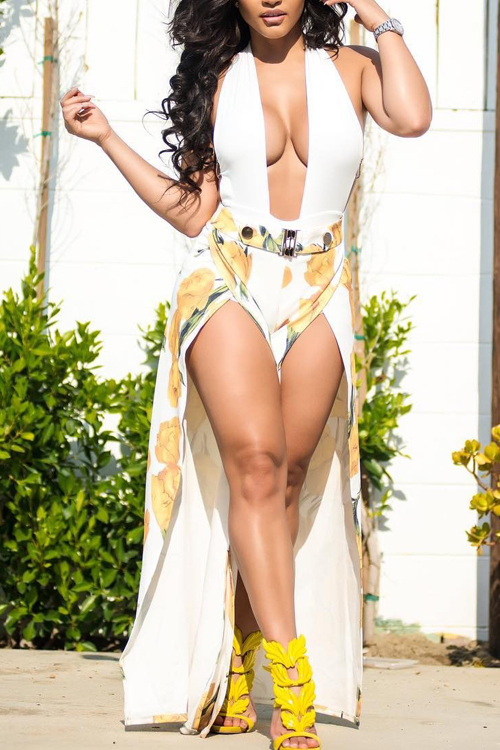 Lovely Sexy Halter Neck Side Slit Floral Printed White Polyester One-piece Jumpsuits<br>
