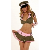 Sexy Policewomen Cosplay Lingerie Suit Brown