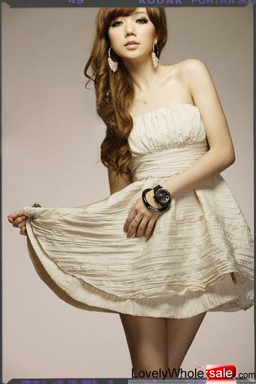 Ballet Double-layers Hem Wrinkled Bateau Apricot Dress