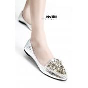 Kvoll shoes rhinestone-studded bridal flats silver
