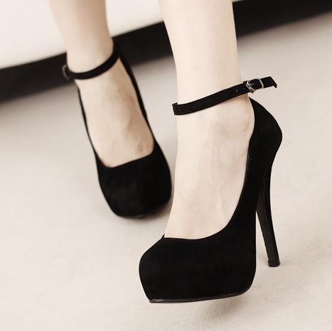 Corean Suede Round Closed Toe Super High Stiletto Black Ankle ...