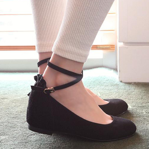 9a791d0ea7a Casual Suede Round Closed Toe Wedges High Heel Black Ankle Strap Flats