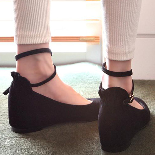 0a4f374570 Casual Suede Round Closed Toe Wedges High Heel Black Ankle Strap Flats