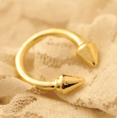 European Punk Styles Golden Arrow Metal Rings