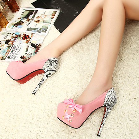 European Sexy Round Cap Toe Lace Up Super High Stiletto Pink Pumps