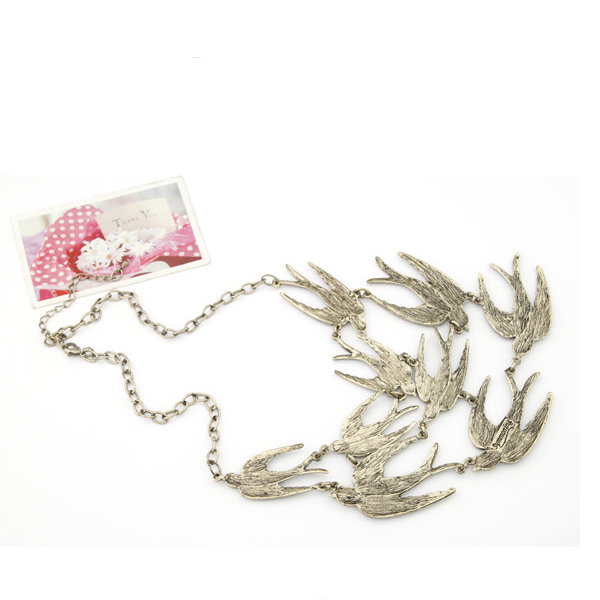 European Styles Vintage Temperament Swallows Pattern Metal Necklace