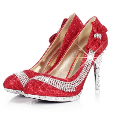 Elegant Round Closed Toe Bow Tie & Diamond Embellished  Stiletto High Red PU Party Pumps