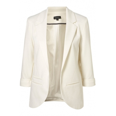 Casual Thicken Turndown Collar Long Sleeves White Women Suit