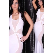 Sexy White Polyester Neckholder Gown with Rhinesto