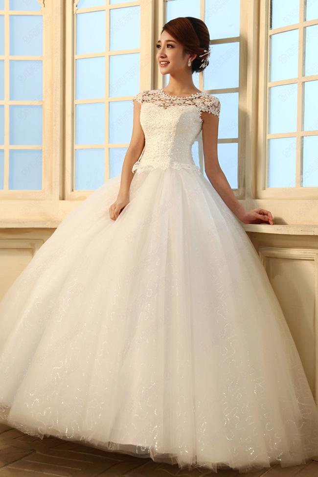 Elegant Diamond Embellished Short Sleeves White Lace Scalloped Floor ...