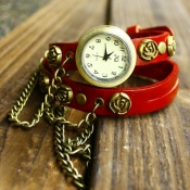 Gorgeous Red Rose Chain Embellished Leather Bracel