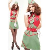Sexy Turndown Neck Sleeveless Green Polyester Fema