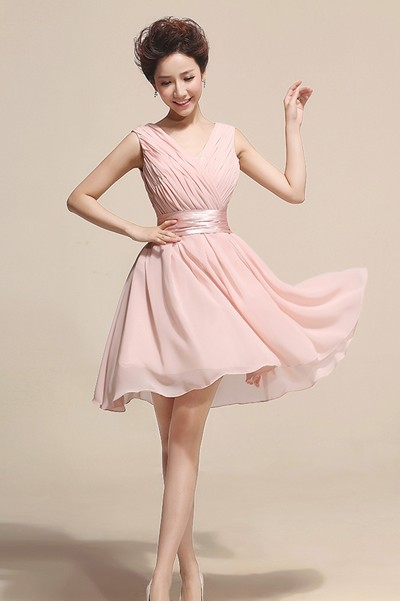 1b9cac98bf3c Fashion Lovely Ruched V Neck Sleeveless Pink Chiffon Princess Knee Length  Bridesmaid Dress