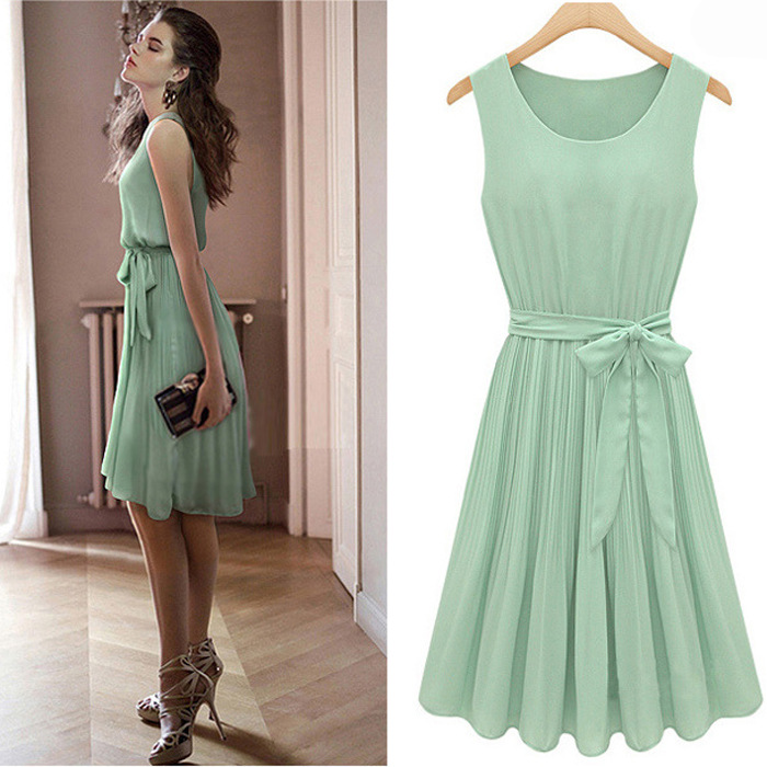 Lovely Fashion plissadas O Neck mangas Chiffon Mini Vestido