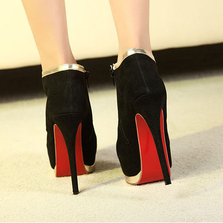 fashion round closed toe stiletto high heels black leather