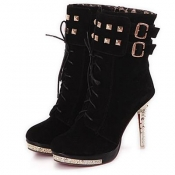 Spring Autumn Round Toe Lace Up Stiletto High Heel