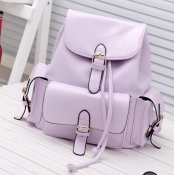 Fashion Girls Solid Purple Leather Backpack String
