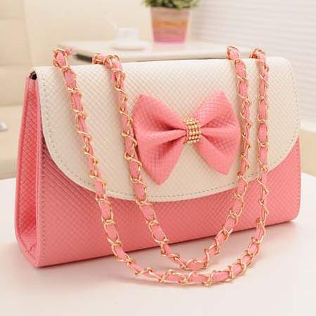 fashion refreshing bow tie embellished and zipper design solid fluorescence pink pu messenger. Black Bedroom Furniture Sets. Home Design Ideas