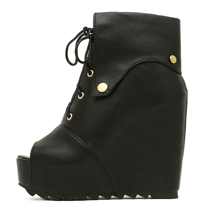 Spring Autumn Round Toe Lace Up Super High Wedge Black PU Short Martens Boots