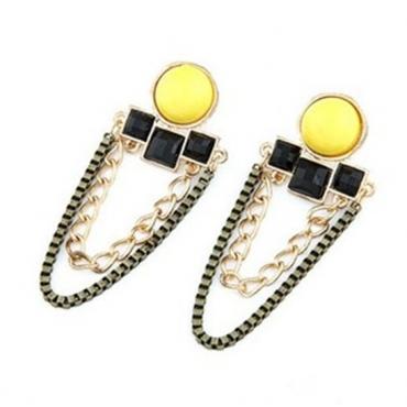 Fashion All-Match Retro Yellow Metal Earrings