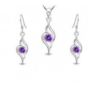 Fashion Purple Crystal Wedding Jewelry Set