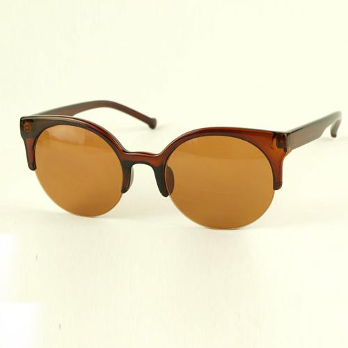 Óculos de sol do meio frame do marrom escuro do vintage da forma