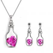 Fashion Rose Red Crystal Wedding Jewelry Set