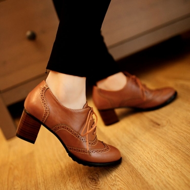 Moda Round Toe Chunky Mid Heel Lace Up Ankle Brown PU Cavalier Boots