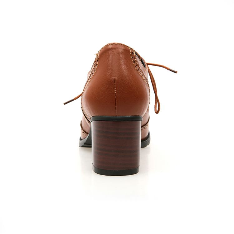 Moda redonda dedo del pie grueso tacón medio encaje hasta el tobillo marrón PU botas de caballero