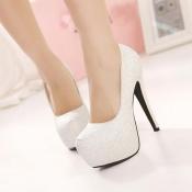 Round Toe Fashion Stiletto High Heel White PU Wedd