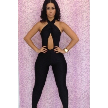 Sexy Solid Skinny Black Jumpsuits
