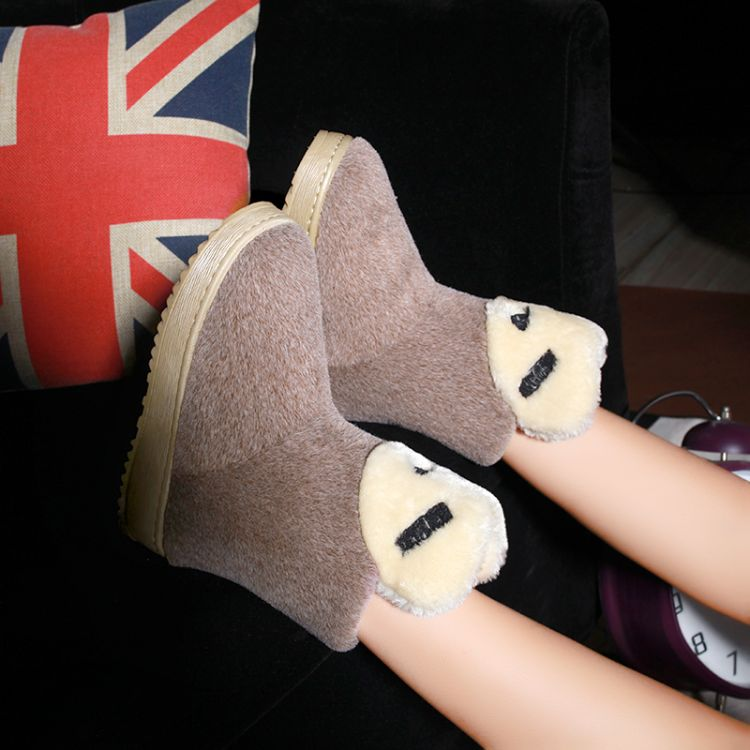 Winter Round Toe Stiletto Mid Heel Slip On Ankle Brown Suede Snow Boots