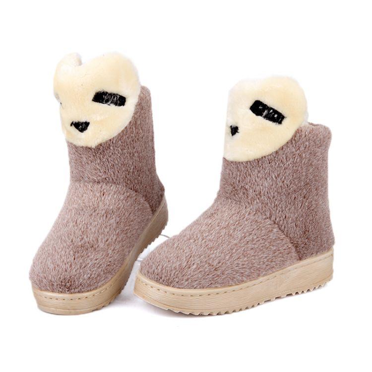 Winter Round Toe Stiletto Mediano Talón Slip On Tobillo Brown Suede Snow Boots