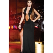Sexy Sleeveless Sheath Ankle Length Black Gowns&Ro