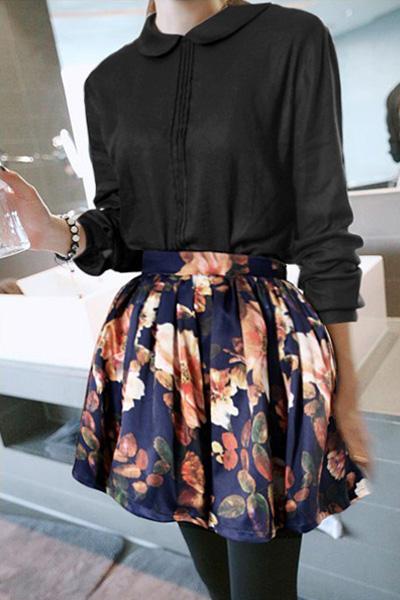 Fashion Print Ball Gown Polyester Mini Skirt