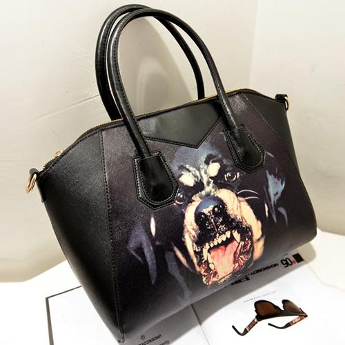 Women Fashion Animal Prints Zipper Black PU Shoulder Bag