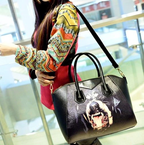 Women Fashion Animal Prints Zipper Black PU Shoulder Bag