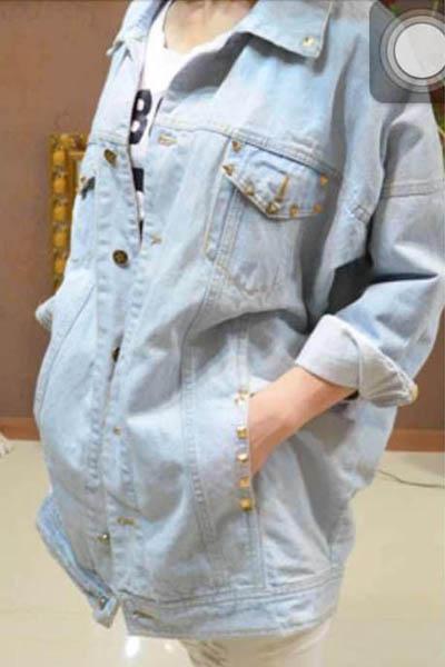 Fashion Turndown Collar Long Sleeve Zipper Light Blue Cotton Regular Coat