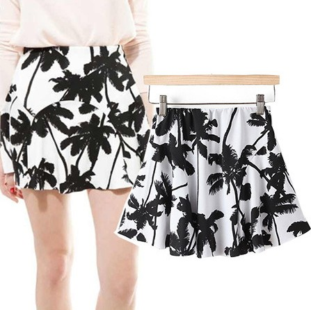 New Spring  Coconut Print Polyester A Line Mini Skirt