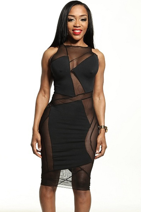 Sexy O Neck Tank Sleeveless Sheath Black Polyester Mini Dress