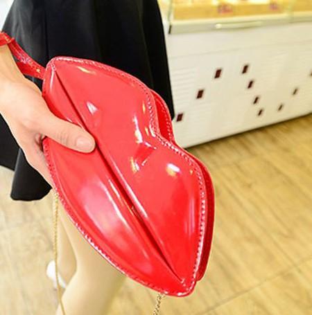 Fashion Women Solid Zipper Red PU Shoulder Bag