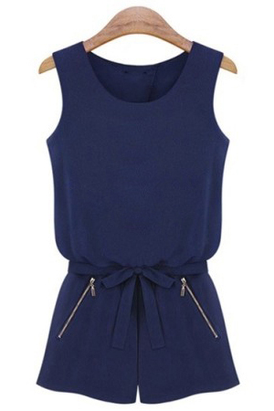 New Style Woman Backless Solid Regular Blue Jumpsuits