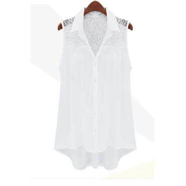 Fashion Turndown Collar Solid White Chiffon T-Shirt